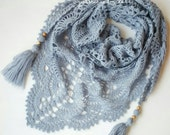 Crochet shawl, gray shawl, gray lace shawl, lace crochet shawl, mini shawl