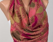 Long Scarf or Shawl or Neck Wrap.Mothers Days Scarf. Spring scarf wrap.Pink and Geen.