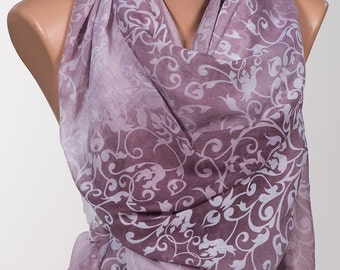 NEW Season Long Scarf. Scarf Neck wrap. Valentine's Scarf. Fall Autumn Purple Lilac Cream Scarf.
