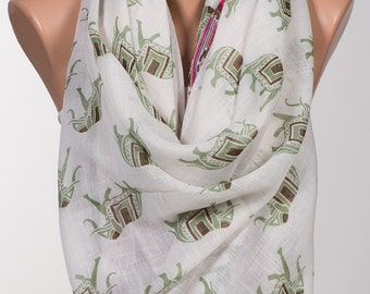 White and Colorful Elephant print Scarf Wrap. Oversize shawl for her. Fashion accessories. Fall christmas gift scarf.