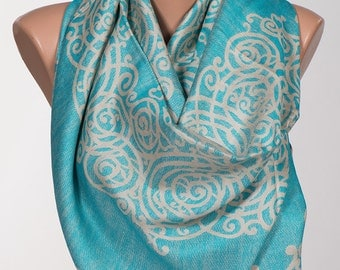 Long Scarf or Shawl or Neck Wrap. Mothers Days Scarf. Fall oversize scarf wrap. Turquoise and Beige.