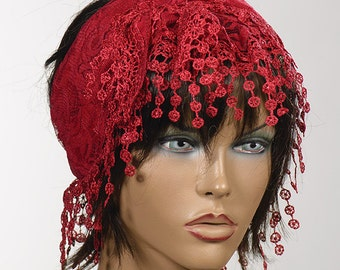 RED Lace Scarf with fringe. Spring and Summer Scarf with fringe. New season. Summer turban headband bandana.