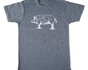 Men's Butcher Pig Foodie T-shirt, bacon shirt, Butcher shirt, crossfit shirt, paleo shirt, chef shirt, butcher pig shirt, funny men's shirt