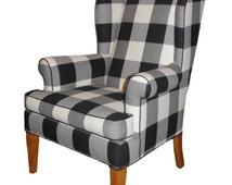 Buffalo Plaid Black and White Wingback Chair Refurbished ...