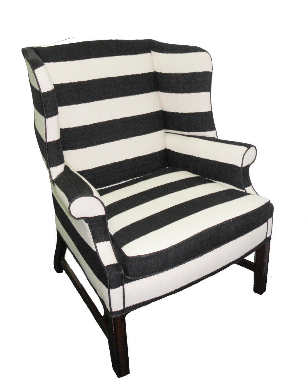 Upholstered Black and White Striped Chair – Haute Juice