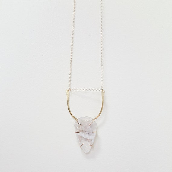 "Quartz Crystal Arrowhead Necklace - 14k Gold Fill, Brass or .925 Sterling Silver 28"" Chain"