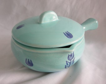 Blue Tulip Motif Covered Soup Bowl Casserole | CRONIN | Vintage Circa 1950s