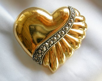 Gold Heart Shaped and Marcasite Brooch | Vintage