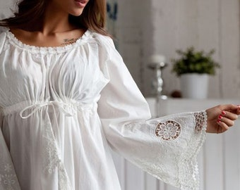 "Summer dress ""At dawn"" embroidered, free style, cotton dress, Midi Dress"