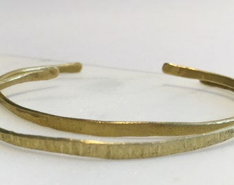 Hammered Brass Bangles, Open Stacking Bangles, Set of 2