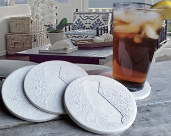 California Drink Coasters, Coasters, California, Beach House, Hostess Gifts, Office, Home Decor, Absorbent