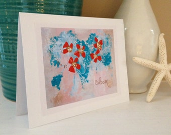 Red Floral Bloom Fine Art Print Greeting Card, 5x7