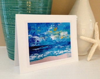 Blue Coastal Landscape Fine Art Print Greeting Card, 5x7