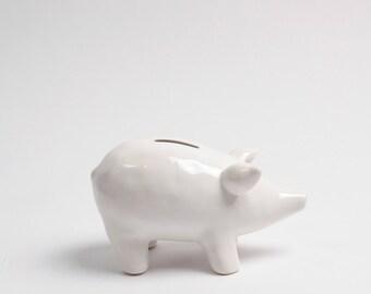 The Piggy Bank - White Money Bank - Table Top Pig Decoration - Kids Room Decor Animal Statue, Piggy Bank, Swear Jar