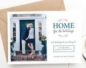 Holiday Photo Christmas Card | Home for the Holidays | Moving Announcement | New Home | FREE SHIPPING | Printed Invitations or DIY