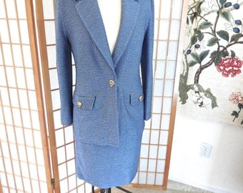 Vintage St John Suit 2PC Jacket and Skirt in Navy and White Stripe