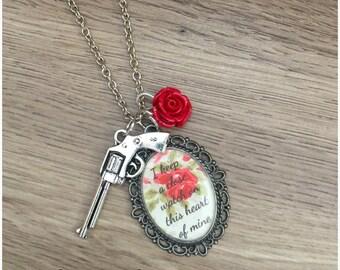 Johnny Cash Walk the Line Gun Roses Necklace Charm Pendant
