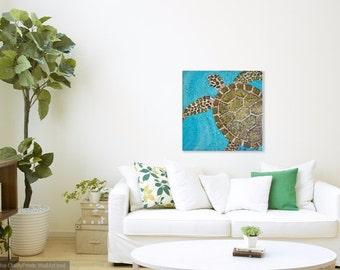 Sea Turtle Painting, Original Acrylic Art, Coastal Sea Turtle on 24 X 24 canvas, Swimming Sea Turtle Beach Art, Sea Life
