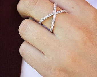 925 Sterling Silver Criss Cross Ring - X cross silver ring - Criss Cross - authentic Cubic Zirconia stacking ring