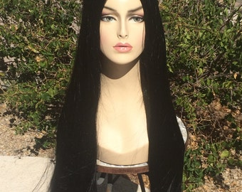 Morticia Adams Gothic Long Black Wig