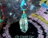 Crystal Pendant-Reiki charged, Wirewrapped, Healing Energy, Clear Quartz, Swarovski Crystal, Copper, Bohemian, Love, w/ Rainbow inclusion