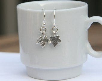 Sterling Silver Maple Leaf Dangle Earrings