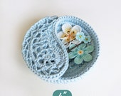 """Crochet pattern, yin yang jewelry dish 4"""". Crochet gift ideas for her, PDF instant download photo tutorial. Rings plate."""