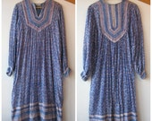Vintage Indian Gauze Cotton Dress - India Print Dress Size M
