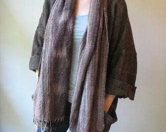 WINTER SALE * Vintage Handwoven Jacket - Hand Woven Textile Art - Kimono Open Front Jacket