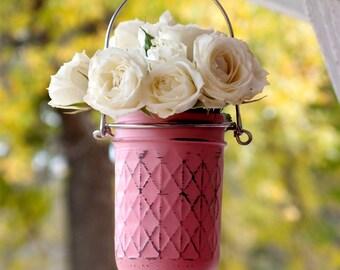 Gift for Her / Garden Decor / Painted Mason Jar / Outdoor / Hanging mason jar / planter / lantern / Vase / Unique Gift / Choose your size