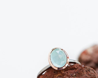 Rosé Gold Ring With Aqua Chalcedony or Rose Quartz , Precious Gemstone Jewelry, Bestseller Ring,Engagement,Bridesmaid,Friendship,Pink Gold