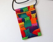 Pouch Zip Bag Rainbow CAT Fabric - great for walkers, markets, travel.  Cell phone pouch. Small fabric purse. bright cats sling bag.