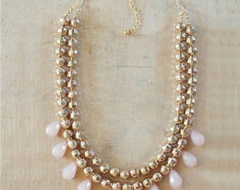 Gold Beaded Necklace with Blush Teardrops, Gold Statement Necklace, Sparkly Gold Necklace, Gold Bib Necklace