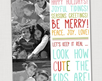 Funny Christmas card printable Christmas card with photos Unique Christmas card Custom hoilday card Colorful christmas card Retro holiday