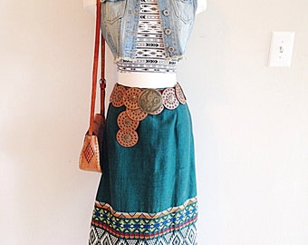 Vintage Green Embroidered Guatemalan Ethnic Tribal Skirt