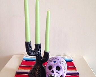 Hand Painted Day of the Dead Paper Mache Skull Dia de los Muertos Lavender
