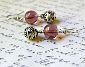 Plum Dangle Earrings Purple Antique Silver Cutout Ball Drop Fashion Jewelry Jewellery Paisley Beading PaisleyBeading FREE Shipping