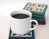 """Hand-Crafted Coasters Set Of Six   Cast Stone   Individually Cast & Hand-Painted   3 3/4"""" Square   Multiple Colors"""