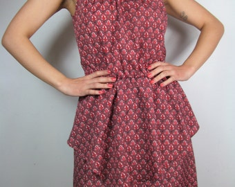 Deep Pink Prairie Patterned Vintage Style Sleeveless Hippie Gypsy Women's Dress Size Medium