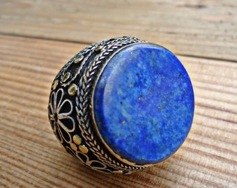 Afghan lapis ring-.Ethnic ring- Gypsy Silver Ring. Silver handmade ring- Vintage Ring.Afghan jewelry- lapis silver ring- boho stacking ring