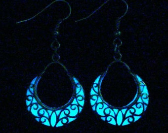 Crescent Moon Earrings Glow In The Dark Crescent Moon Jewelry Antique Silver (glows aqua blue)