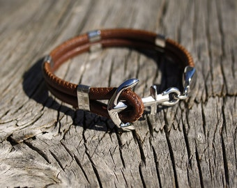 Anchor bracelet - Nautical leather bracelet - New Haven in Stainless Steel