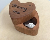 How to say Marry Me- Heart Shaped Ring Box- Mini - Wooden Ring Box- Engagement Ring- Personalized Ring Box- Rustic Wedding Presentation Box