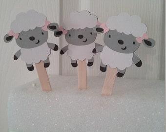 Lamb Baby Shower-Boy Lamb Baby Shower-Girl Lamb Baby Shower-Lamb cupcake toppers