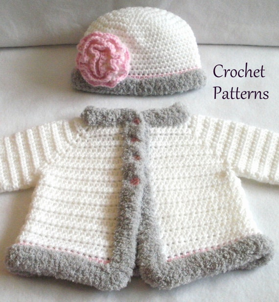 Crochet Baby Girl Cardigan Pattern Free : Crochet PATTERN Baby Sweater & Hat Patterns The Laura Baby