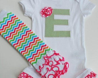 Personalized Baby Gift, green and hot pink, initial, ruffle bottom