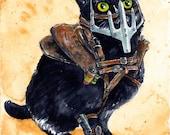Mad Diesel: Fine Art Watercolour Black Cat Mad Max Print