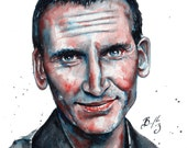 9th Doctor, Doctor Who, Christopher Eccelston: Fine Art Giclee Watercolour Print
