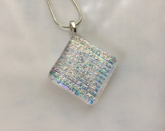 Fused Glass Jewelry, Dichroic Pendant, Rainbow Glass Necklace