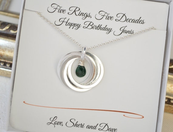 Emerald Wedding Anniversary Gifts: Emerald Birthstone Necklace May Birthstone Necklace 50th